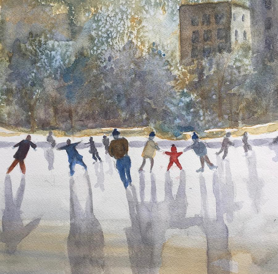 Skating  Painting by Peggy Poppe