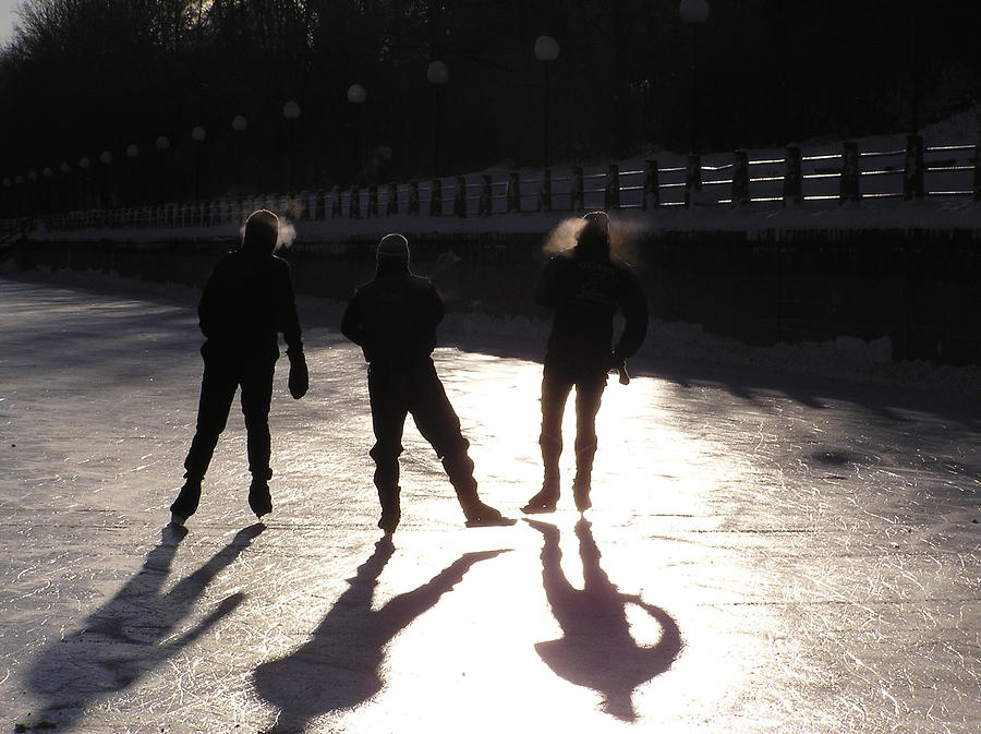 Skating Photograph - Skating The Canal by Richard Mitchell