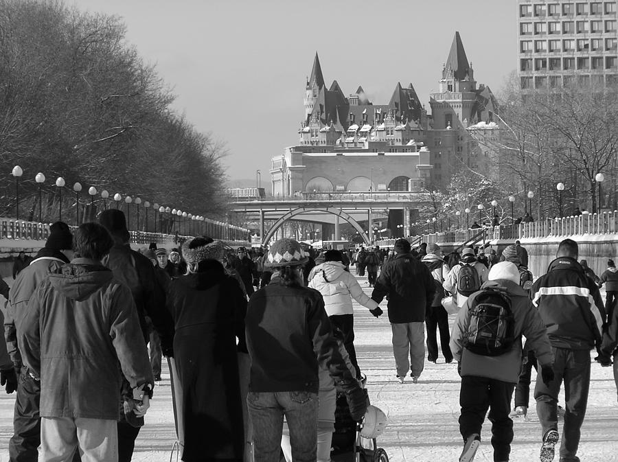 Rideau Canal Photograph - Skating The Ridea Canal by Richard Mitchell