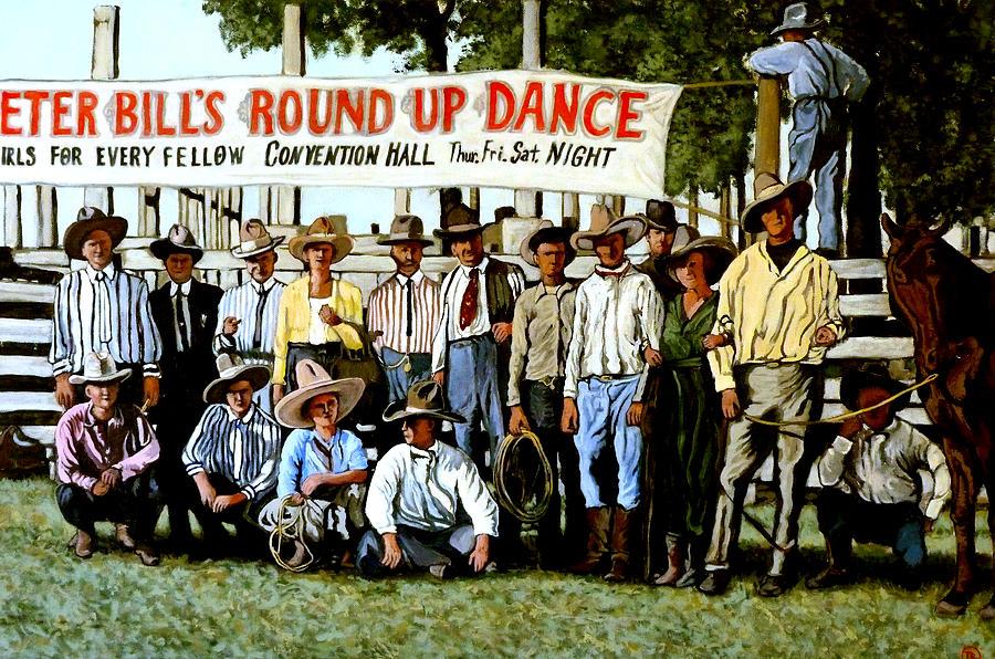 Bull Painting - Skeeter Bills Round Up by Tom Roderick