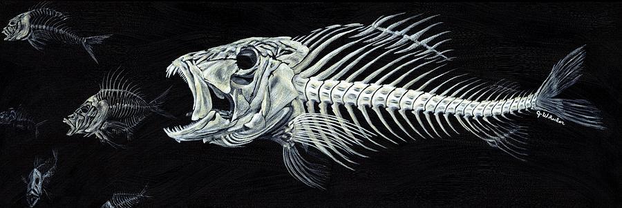 Fish Painting - Skeletail by JoAnn Wheeler