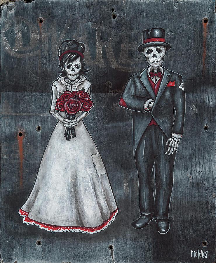 Bride & Groom Painting - Skeleton Bride And Groom Aka Amor Sencillo by Nicklos Richards