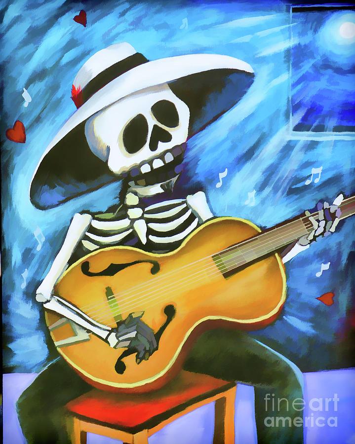 Dia De Los Muertos Photograph - Skeleton Guitar Day Of The Dead  by Chuck Kuhn