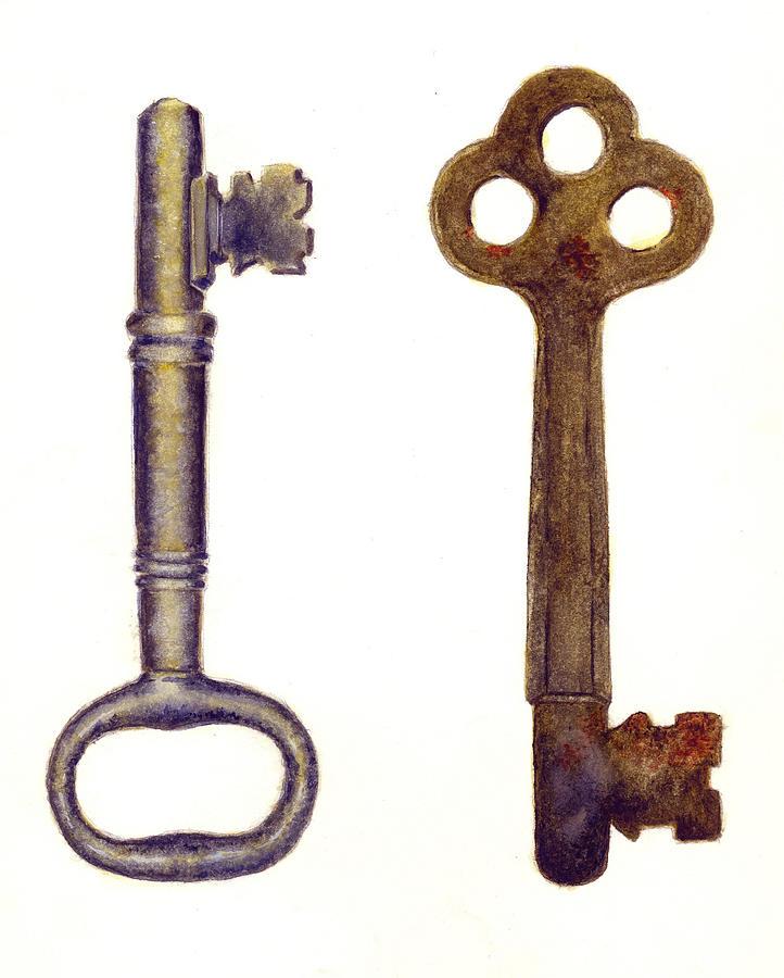 Keys Painting - Skeleton Keys by Michael Vigliotti