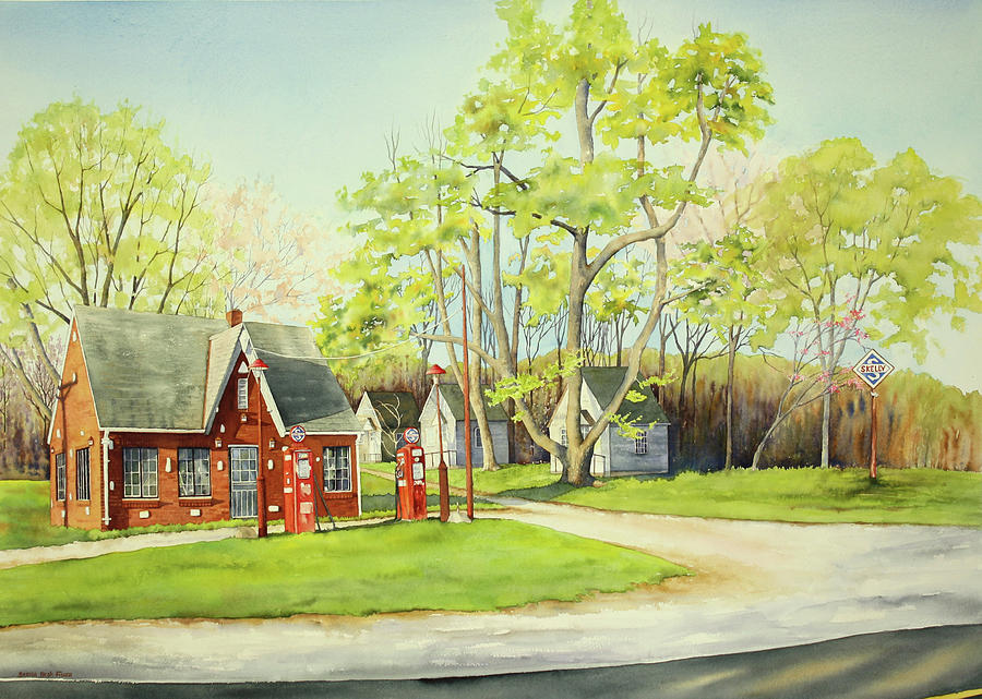Gas Station Painting - Skelly Gas Station by Brenda Beck Fisher