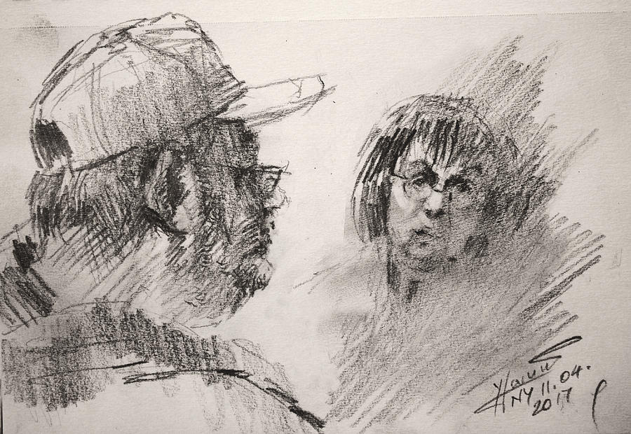 Sketch Drawing - Sketch At Tim Hortons by Ylli Haruni