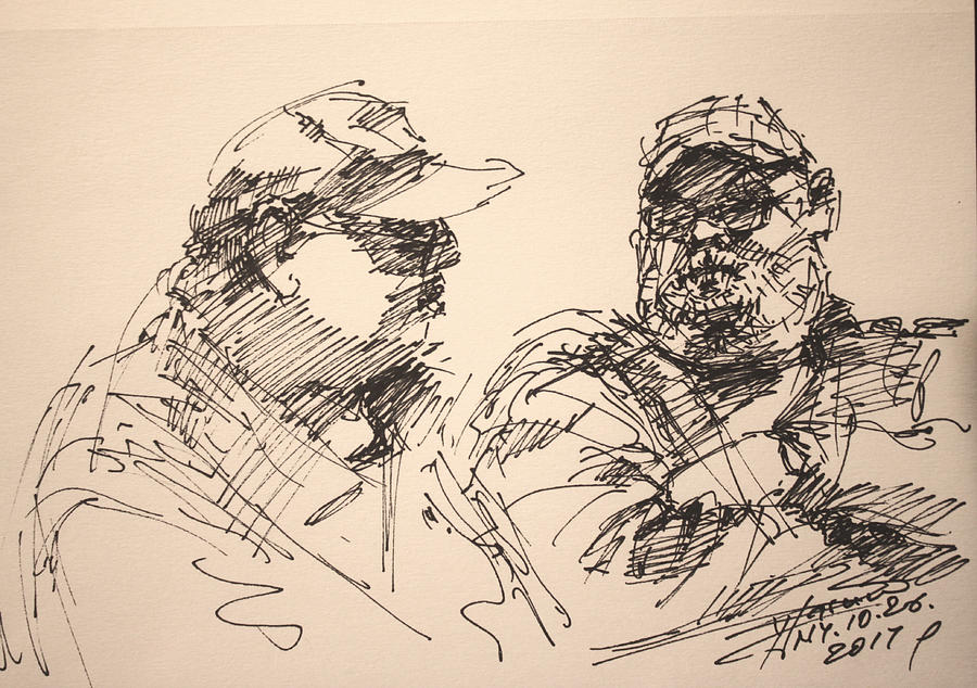 Sketch Drawing - Sketch Men At Tims by Ylli Haruni