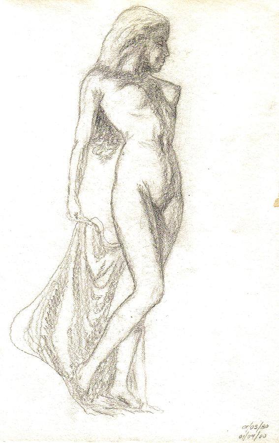 Nude Painting - Sketch Model 9 by Benito Alonso