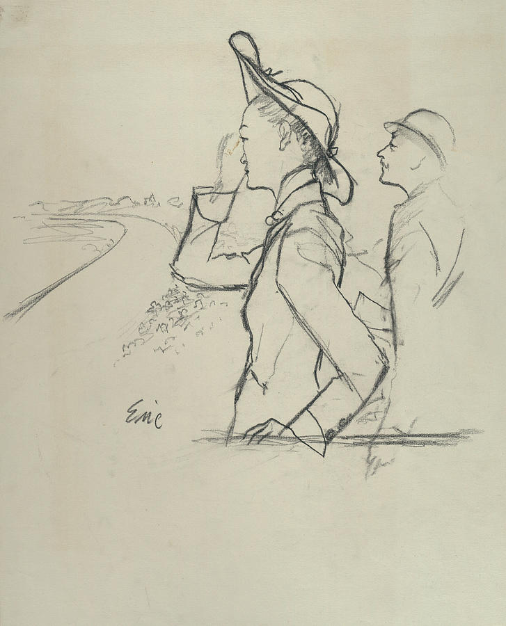 Sketch Of A Woman And Man Wearing Hats Photograph by Carl Oscar August Erickson