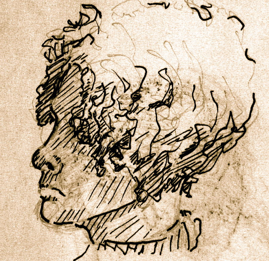 Sketch Drawing - Sketch Of A Young Woman by Dan Earle