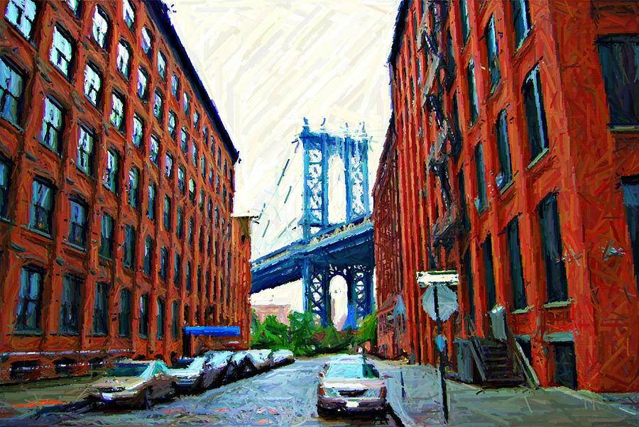 Brooklyn Photograph - Sketch Of Dumbo Neighborhood In Brooklyn by Randy Aveille