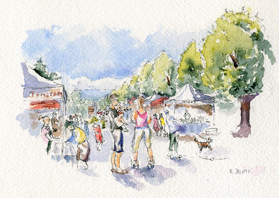 Watercolor Sketch Painting - Sketch Of Farmers Market by Karla Beatty