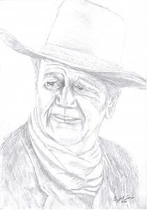 John Wayne Drawing - Sketch Of John Wayne by Crystal Sons