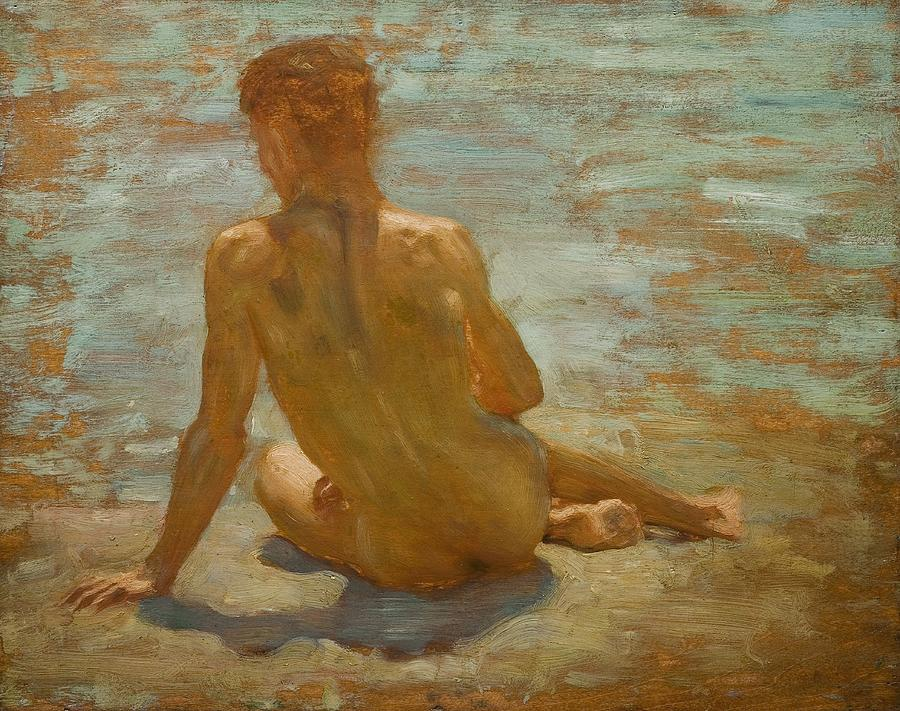 Henry Scott Tuke Painting - Sketch Of Nude Youth Study For Morning Spelendour by Henry Scott Tuke