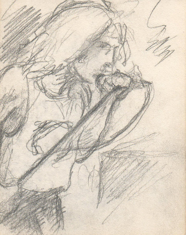 Small Drawing - Sketch Of Robert Plant by T Ezell