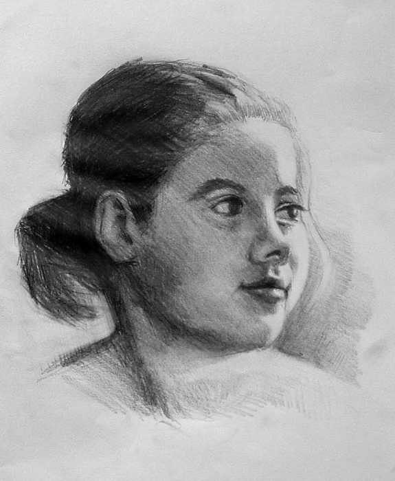 Sketch Of Young Girl Drawing by William Hay
