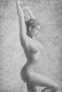 A Girl Drawing - Sketch by Xiaojian Yang