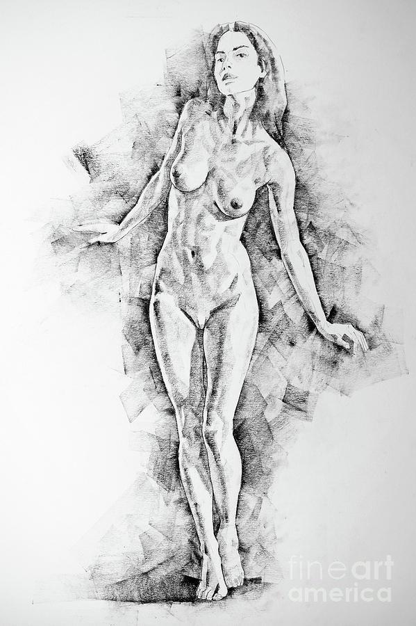 Sketchbook Page 41 I Live Figure Drawing Model Standing Pose by Dimitar  Hristov