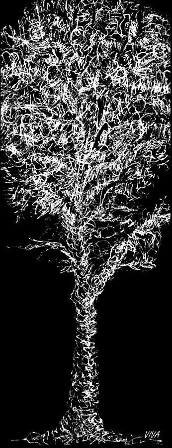 Tree Drawing - Sketchbook Tree 2-b-w by VIVA Anderson
