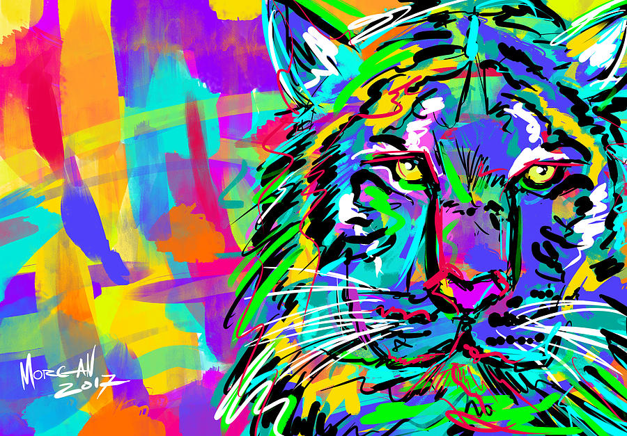 Tiger Digital Art - Sketchy Tiger by Morgan Richardson
