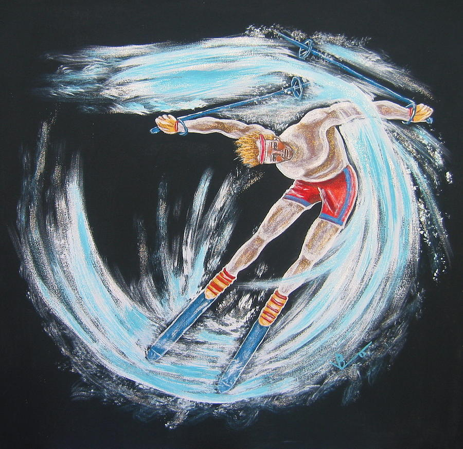 Abstract Sports Painting - Ski Bum by V Boge