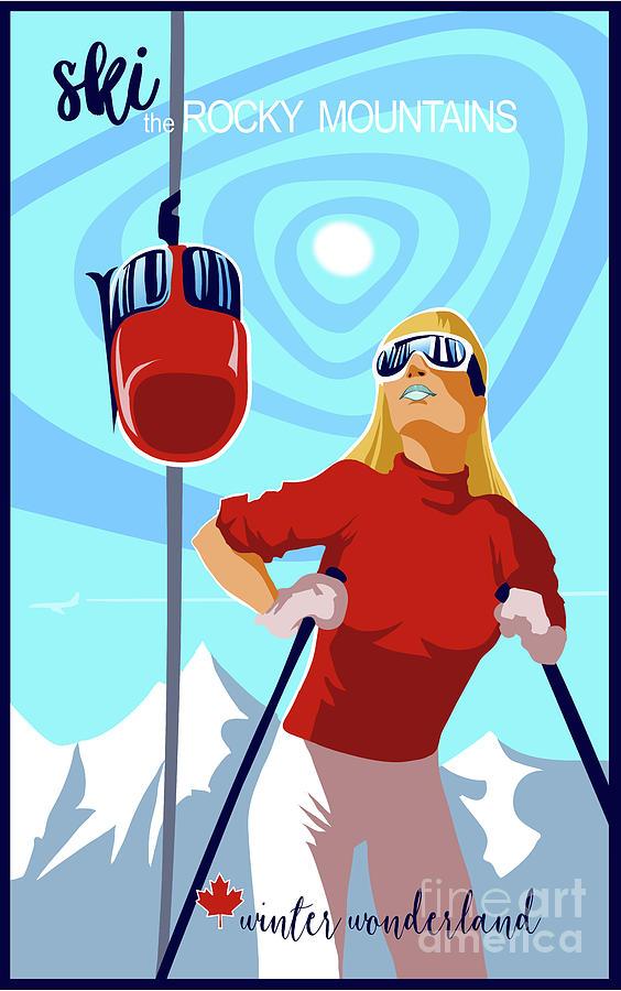 Vintage Ski Painting - Ski Bunny Retro Ski Poster by Sassan Filsoof