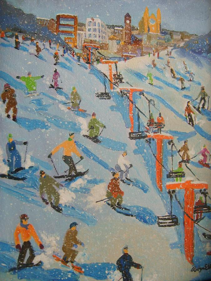 Great Bear Painting - Ski Hill by Rodger Ellingson