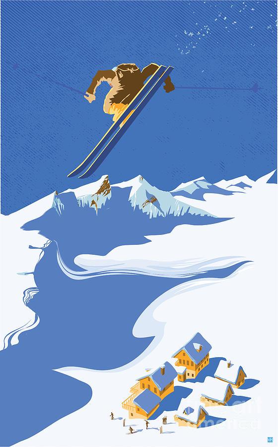 Ski Painting - Sky Skier by Sassan Filsoof
