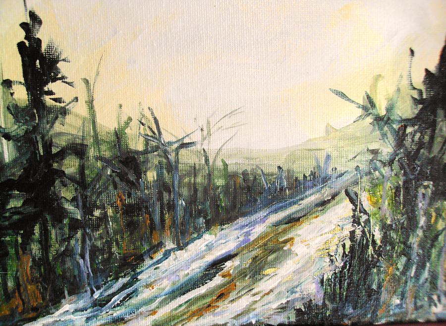 Trees Painting - Ski Trail by Linda King