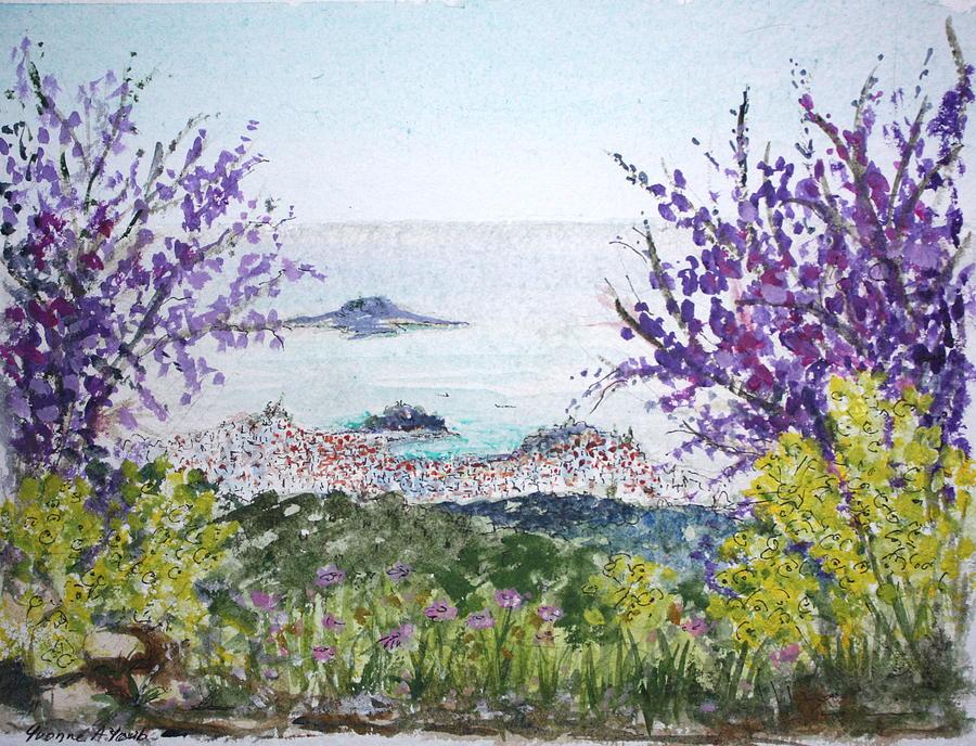 Purple Painting - Skiathos Town And Judas Trees by Yvonne Ayoub
