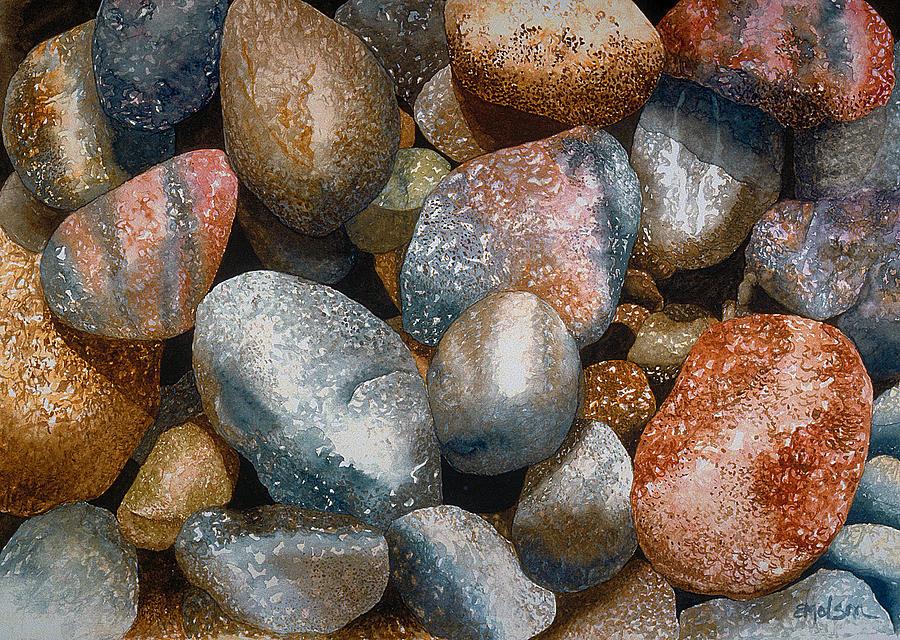 Rocks Painting - Skidegate by Eunice Olson