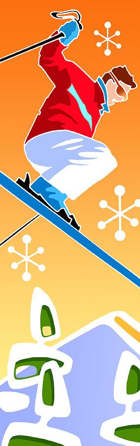 Skier diptych left side by Larry Hunter