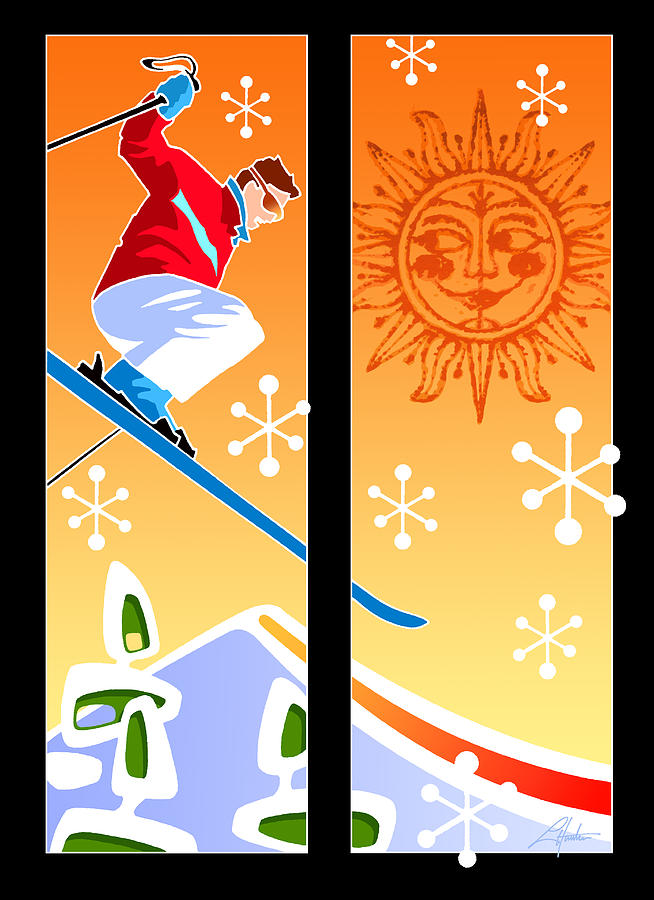 Skier diptych Mid-century Modern by Larry Hunter