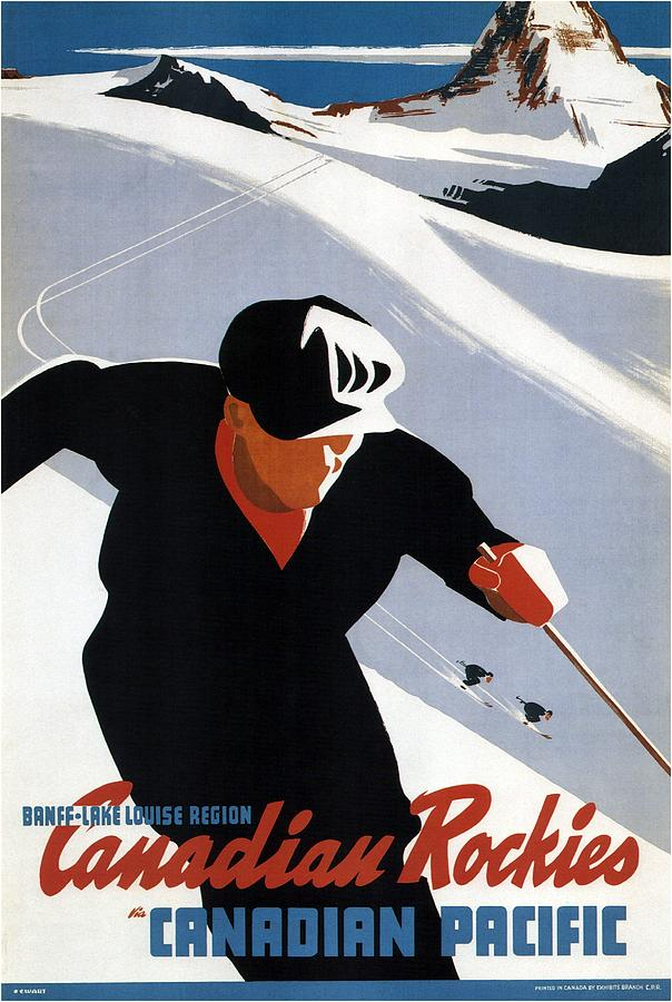 Skiing In The Canadian Rockies - Canadian Pacific - Retro Travel Poster - Vintage Poster Mixed Media