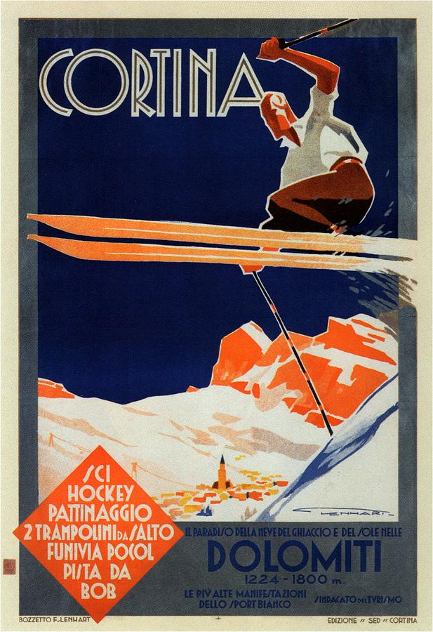 Cortina Painting - Skiing On The Alps In Cortina - Ice Hockey Tournament - Vintage Advertising Poster by Studio Grafiikka