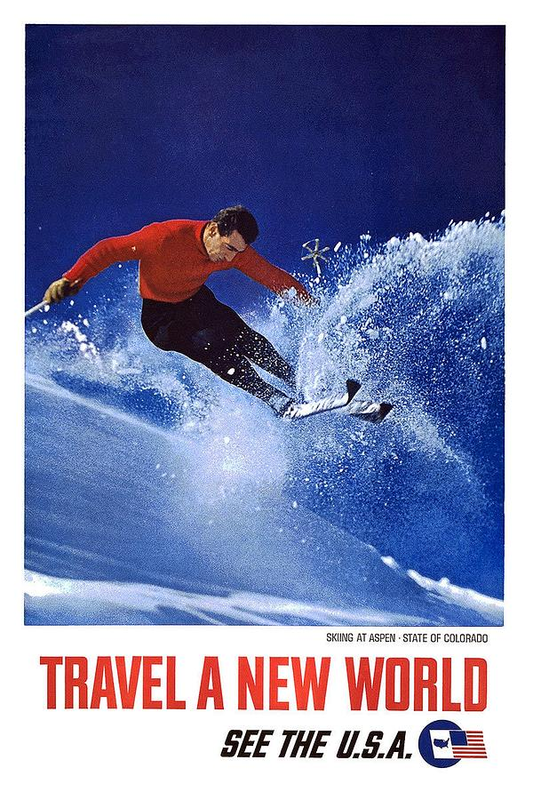Skiing On The Rocky Mountains In Aspen, Colorado - See America - Vintage Travel Poster Painting