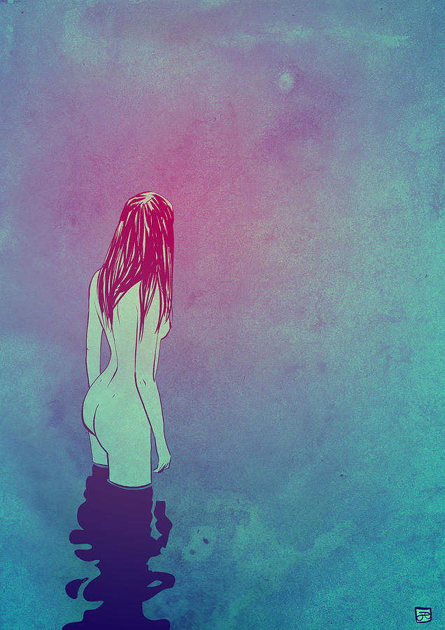 Naked Drawing - Skinny Dipping by Giuseppe Cristiano