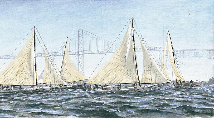 Skipjacks Racing Chesapeake Bay Maryland Detail by G Linsenmayer