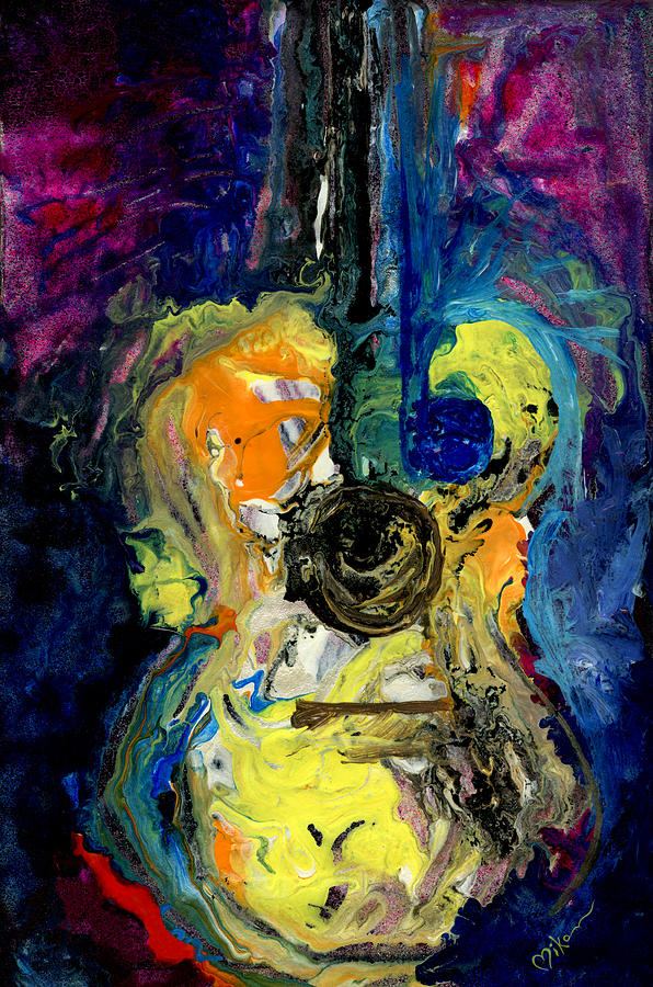 Guitar Painting - Skipping Notes Across Her Body by Miko At The Love Art Shop