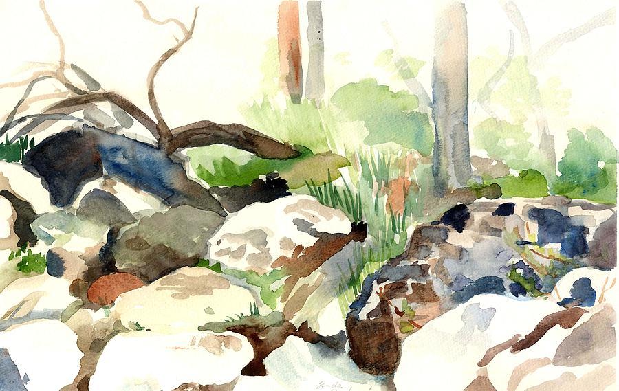 Watercolor Painting - Skipping Rocks by Linda Berkowitz