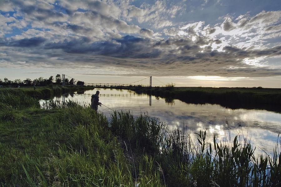 Angler Photograph - Skjern River by Wedigo Ferchland