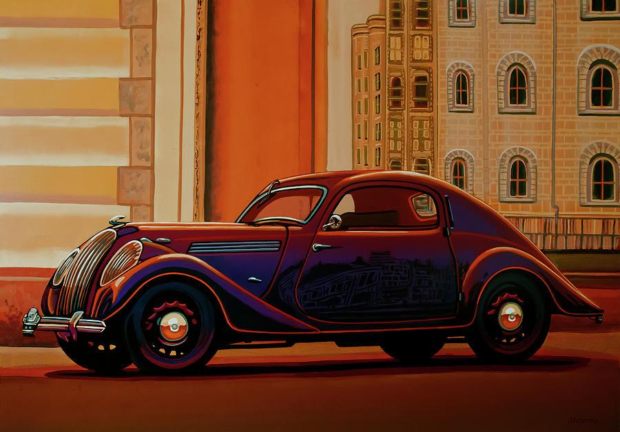 Skoda Painting - Skoda Popular Sport Monte Carlo 1935 Painting by Paul Meijering