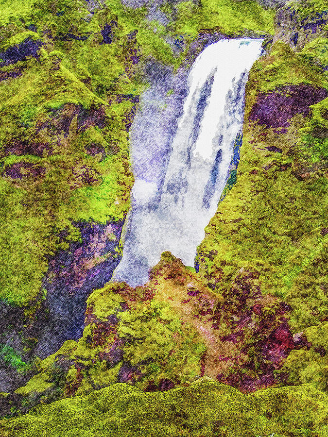 Iceland Digital Art - Skogafoss Waterfall #10 by Frans Blok