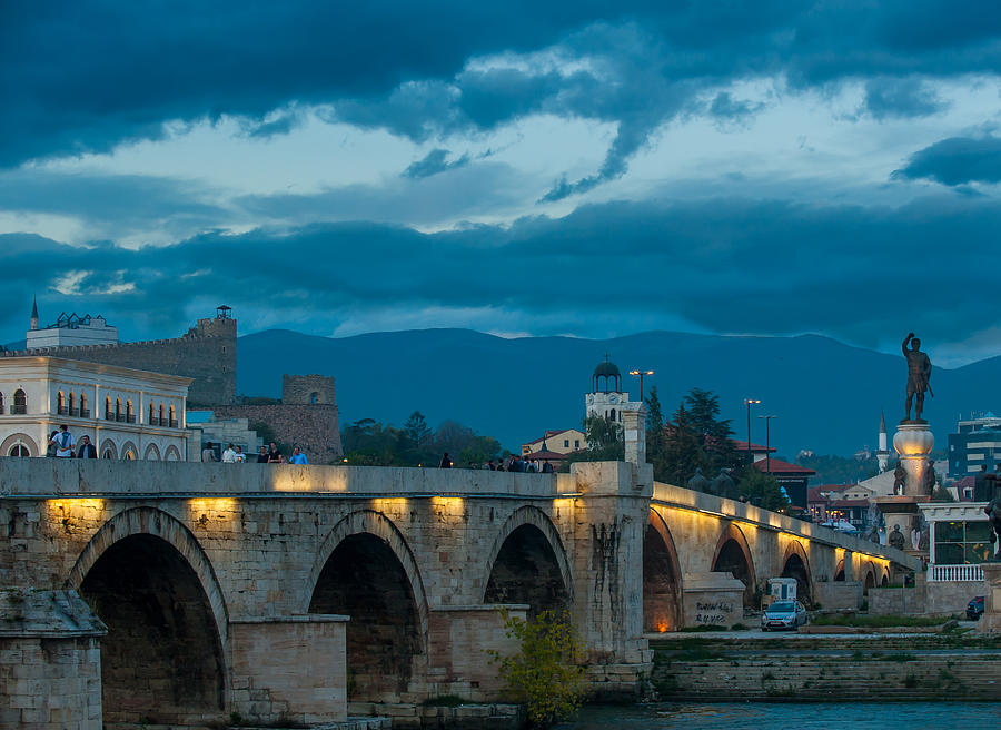 Balkan Photograph - Skopje Stone Bridge by Jonas Sundberg