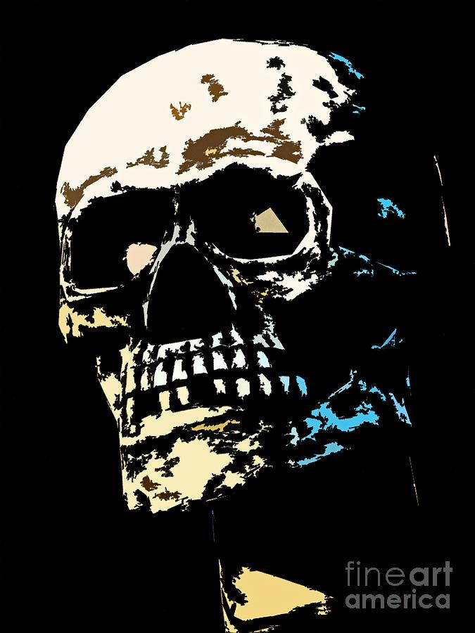 Skull Against A Dark Background Photograph