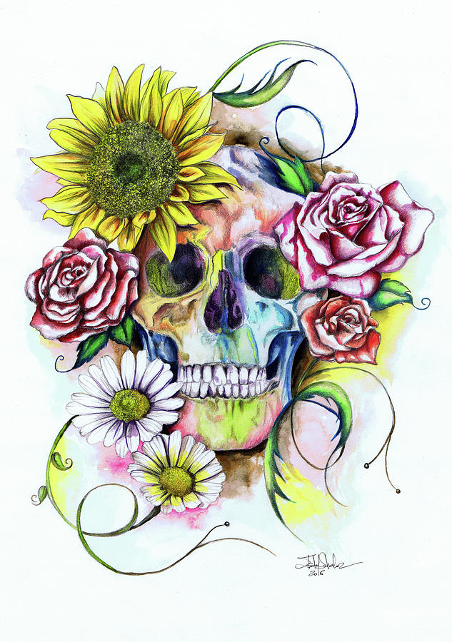 Skull And Flowers Painting by Isabel Salvador