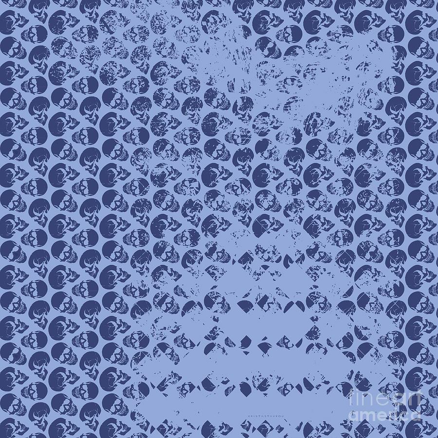 Skull Art background - Blue by Xrista Stavrou