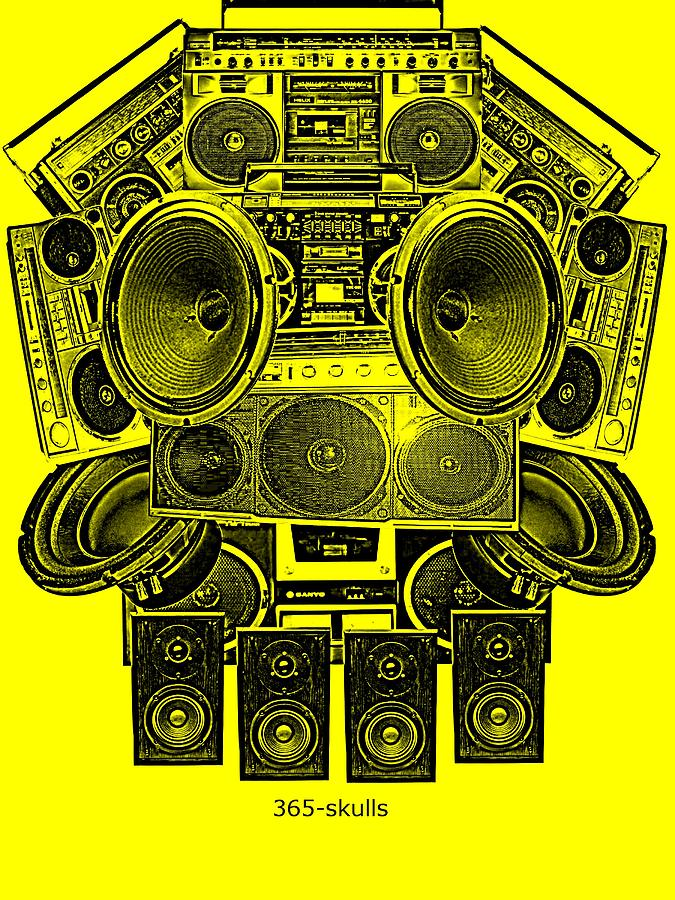 Radio Digital Art - Skull Beat Box by Eric De La Fuente