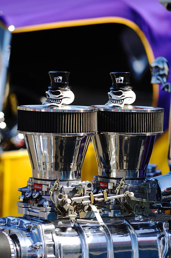Hot Rod Photograph - Skull - Engine Ornaments by Jill Reger