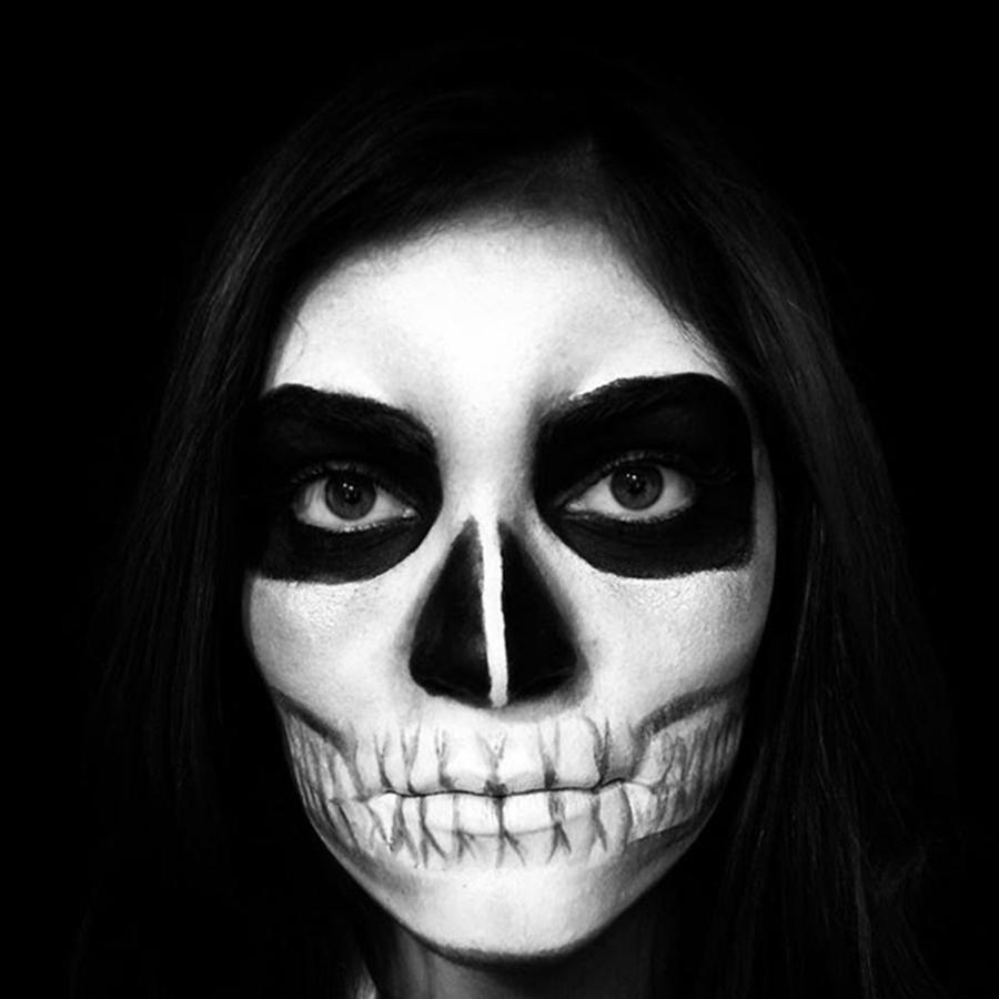 Woman Photograph - Skull Face Halloween Make-up by Juan Silva